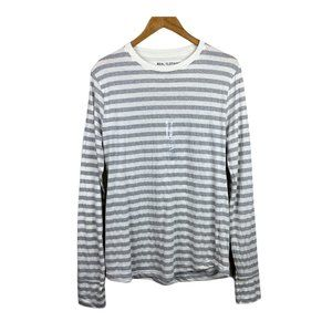Real Clothing Shirt Striped Gray White Long Sleeve